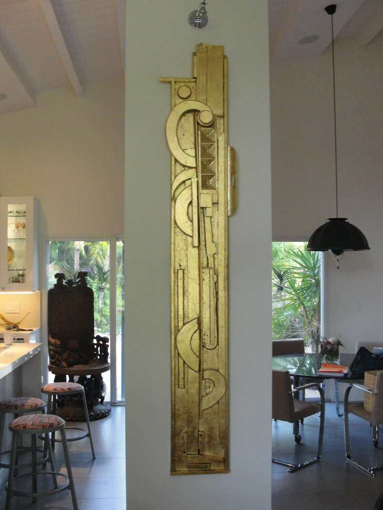 Gold Leaf Incredible Wall Art Sculpture in the Manner of L. Nevelson For Sale
