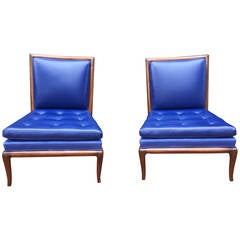 Pair of Upholstered T.H. Robsjohn-Gibbings Slipper Chairs