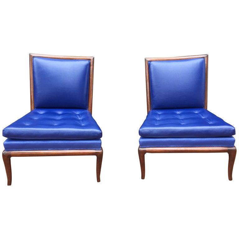 T.H. Robsjohn-Gibbings Slipper Chairs, Pair For Sale