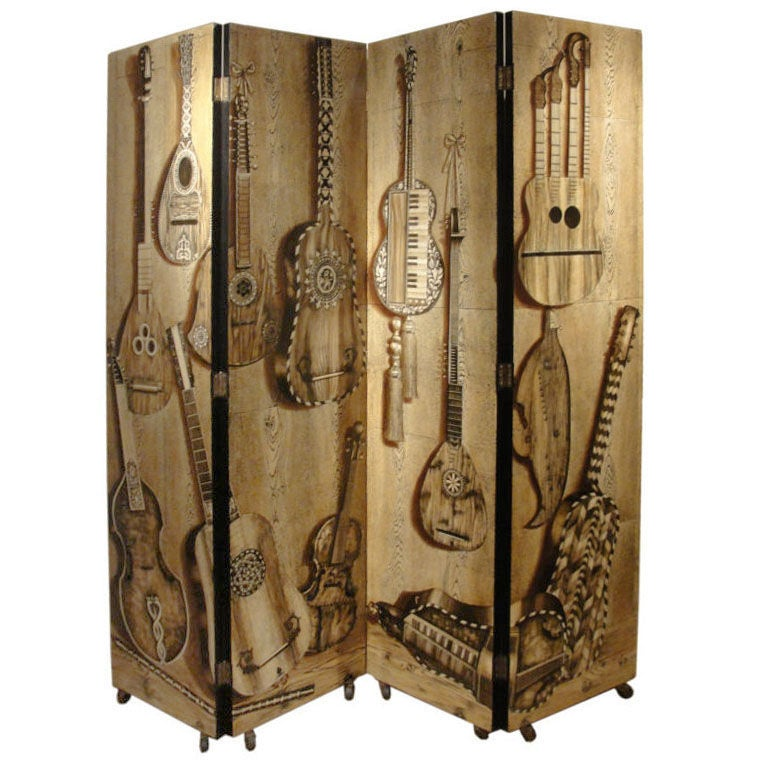 Piero fornasetti musical themed four panel screen on casters for Music themed furniture