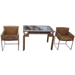 Alain Delon for Maison Jansen Backgammon Game Table & Chairs, Signed