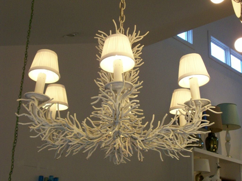 A Heavy and Rare Painted Iron Coral Branch Chandelier 2