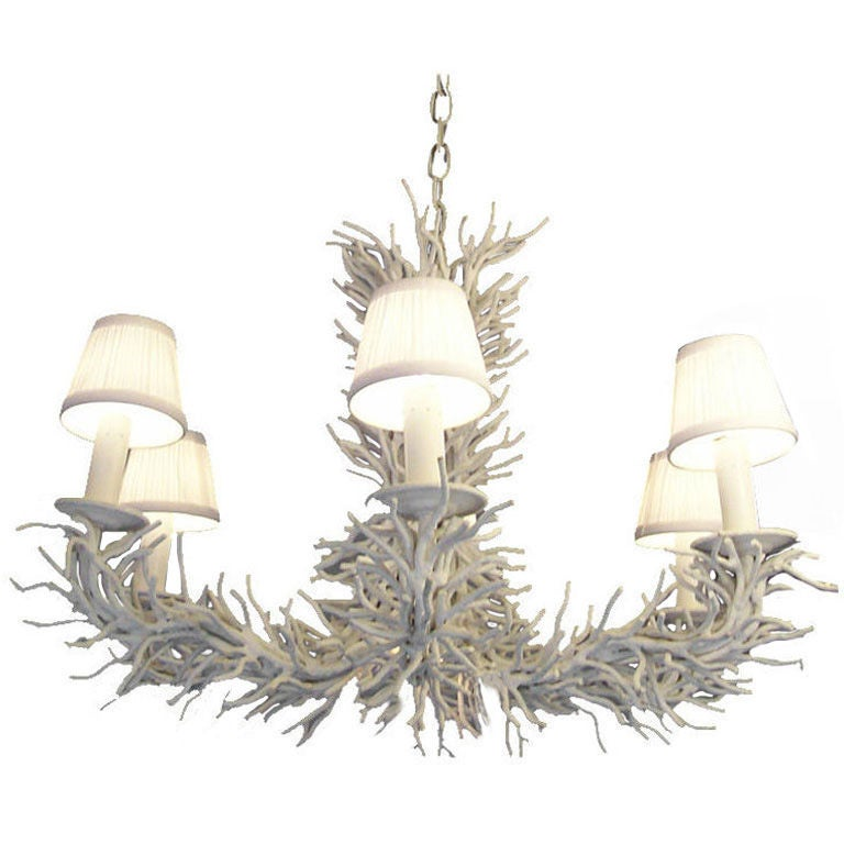 A Heavy and Rare Painted Iron Coral Branch Chandelier 1