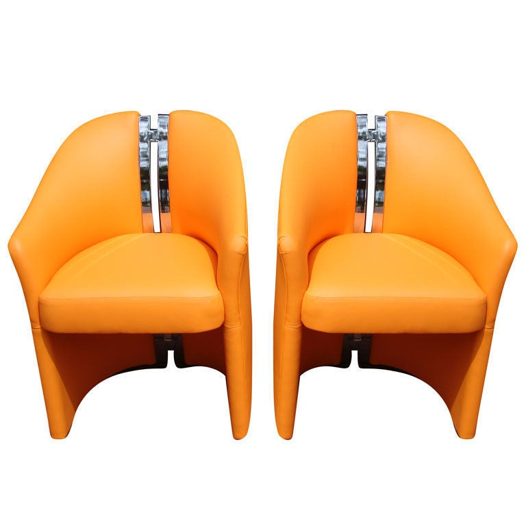 Pair Of Chairs In Orange Leather And Chrome Quot H Quot Spine For