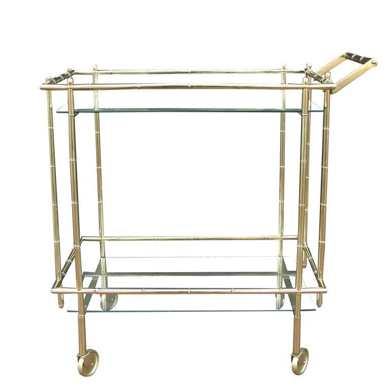 Faux Bamboo Brass Barcart