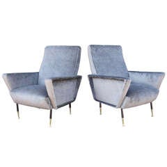 Pair of Italian Mid-Century Grey Velvet Armchairs