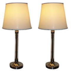 Pair of Glass Column Table Lamps
