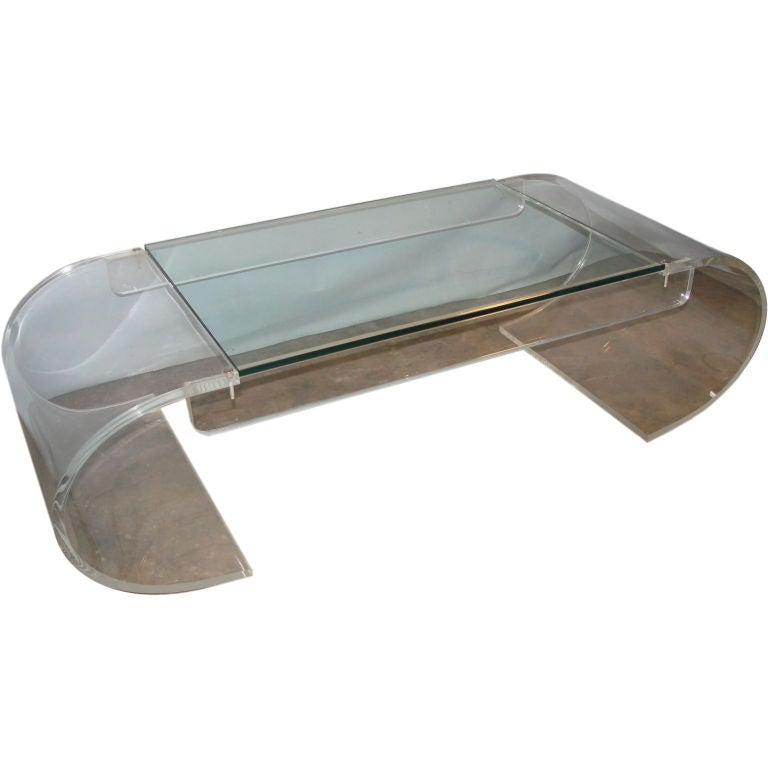 Wonderful scroll vintage lucite and glass cocktail table for Antique scroll coffee table