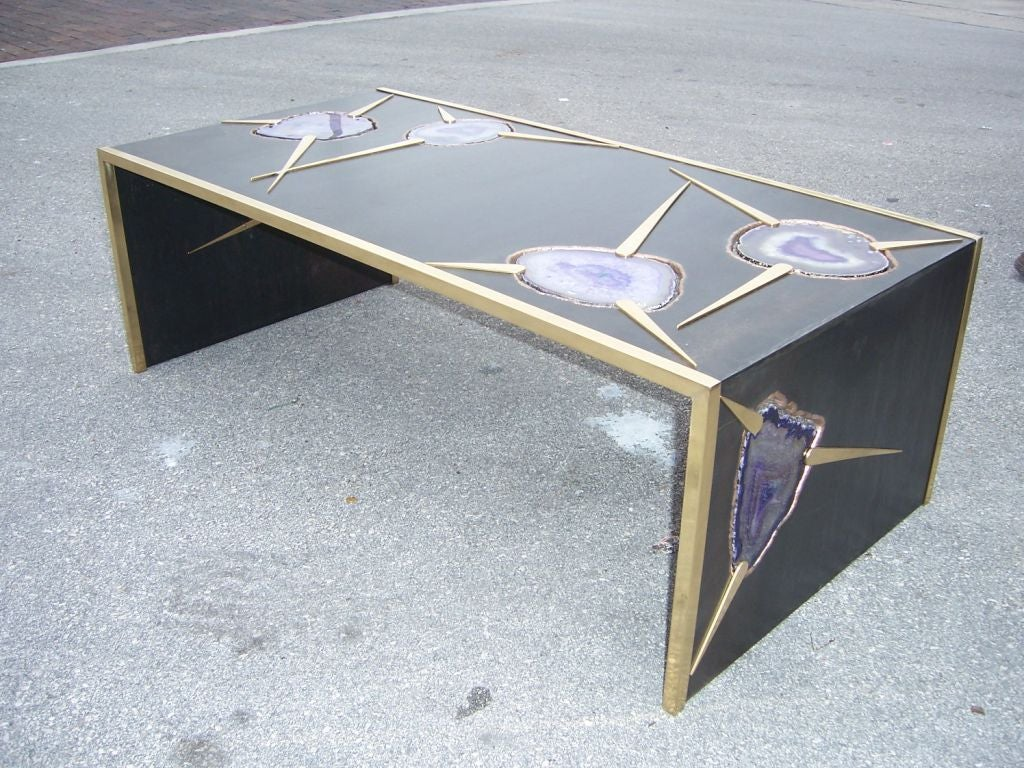 Agate And Bronze Waterfall Coffee Table At 1stdibs