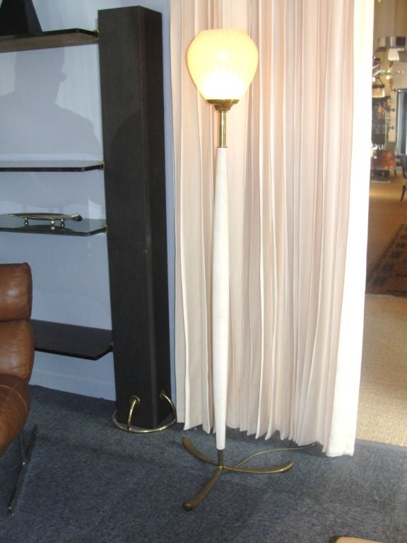 Exceptional Vintage Italian Leather and Brass Floorlamp In Good Condition For Sale In East Hampton, NY