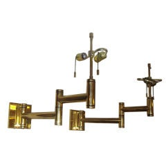 Extraordinary Heavy Pair of Solid Brass Casella Wall Lamps