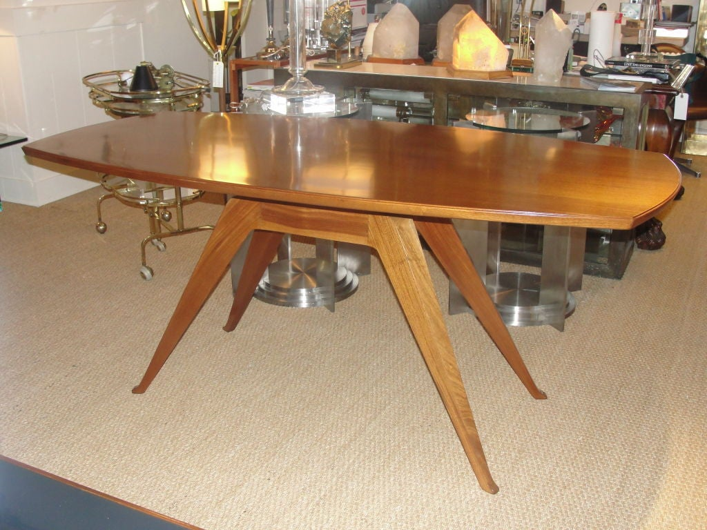 Mid-20th Century Sculptural Italian Walnut Dining Table For Sale