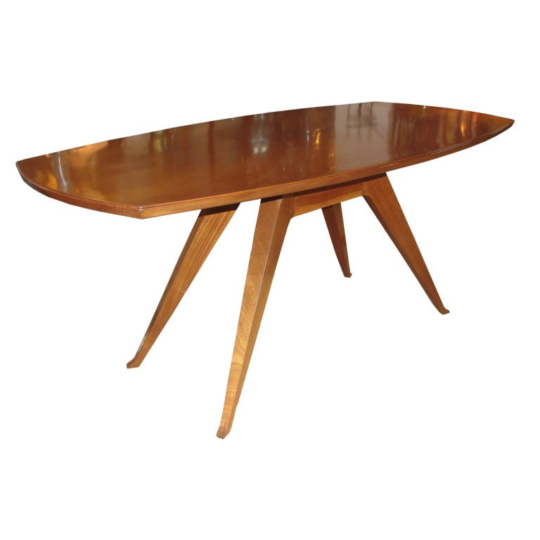 Sculptural Italian Walnut Dining Table For Sale