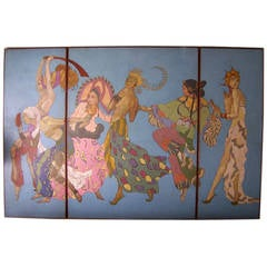 "Incredible Oversized Art Deco Triptych Panel ""Ballet Russe"""