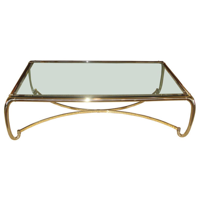 Extraordinary Oversized Polished Brass Cocktail Table