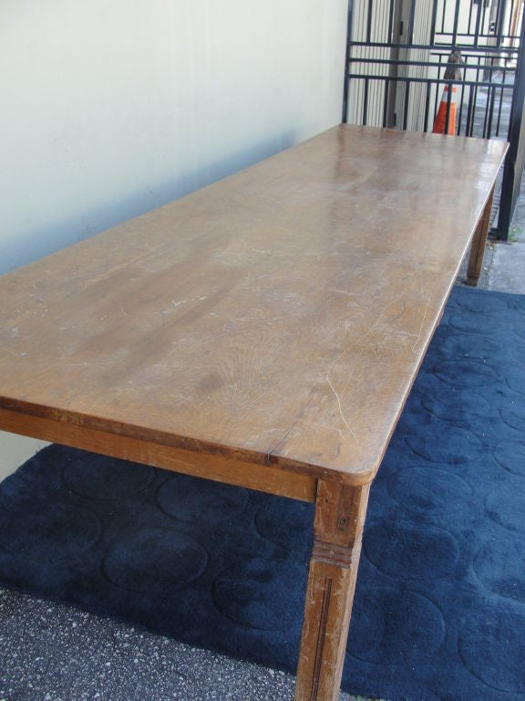 Extra Long Farm Or Library Table Made Of Oak For Sale At