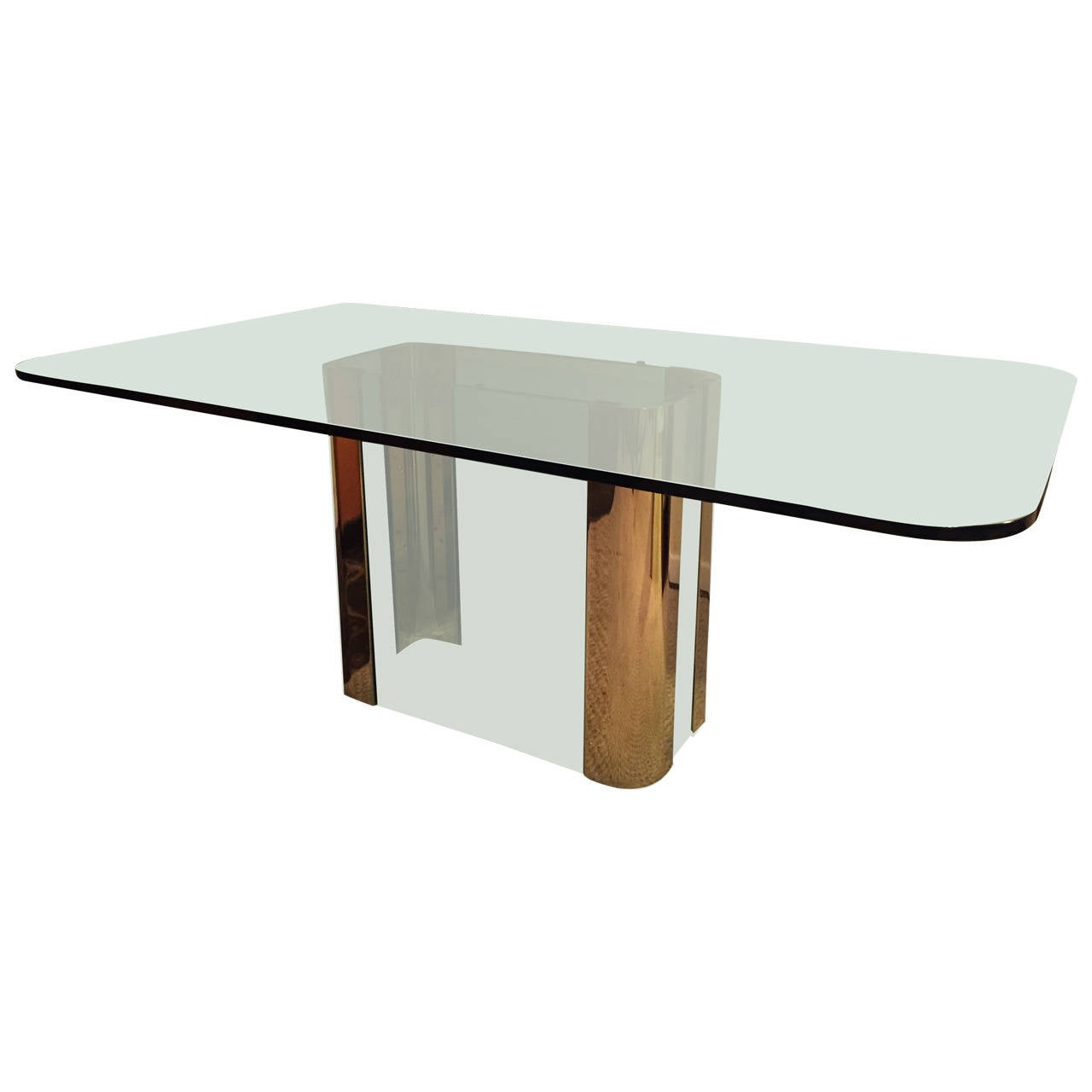 Pace collection brass and glass base dining table for sale for Dining table base