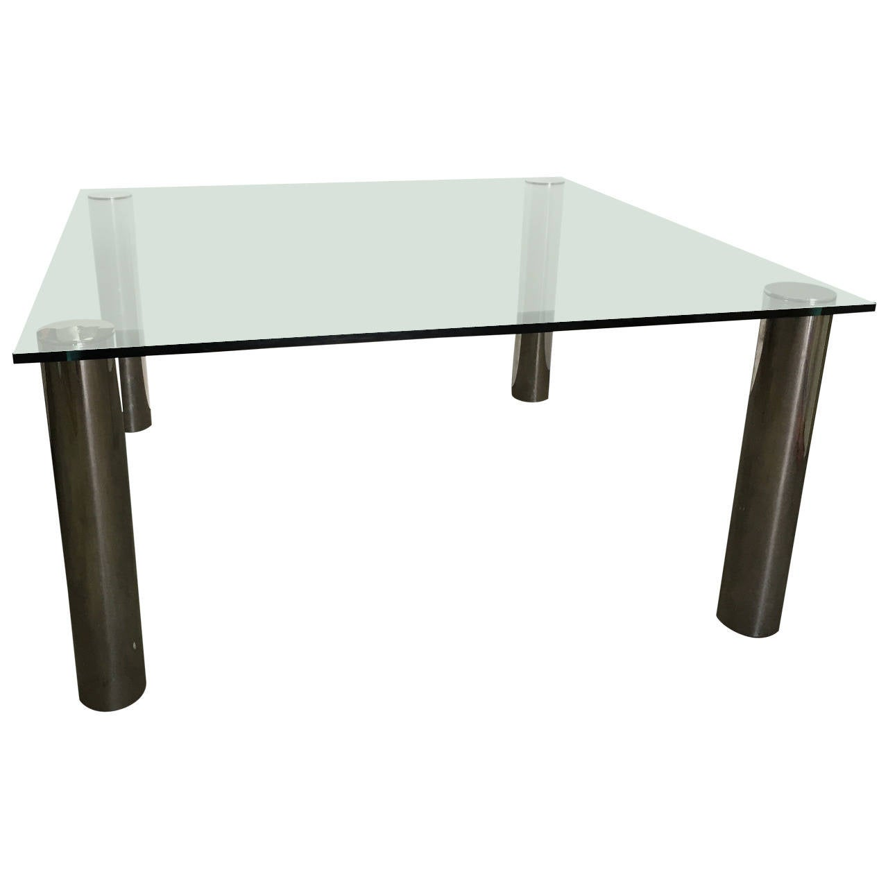 Pace oversized square chrome and glass dining table for for Glass dining table