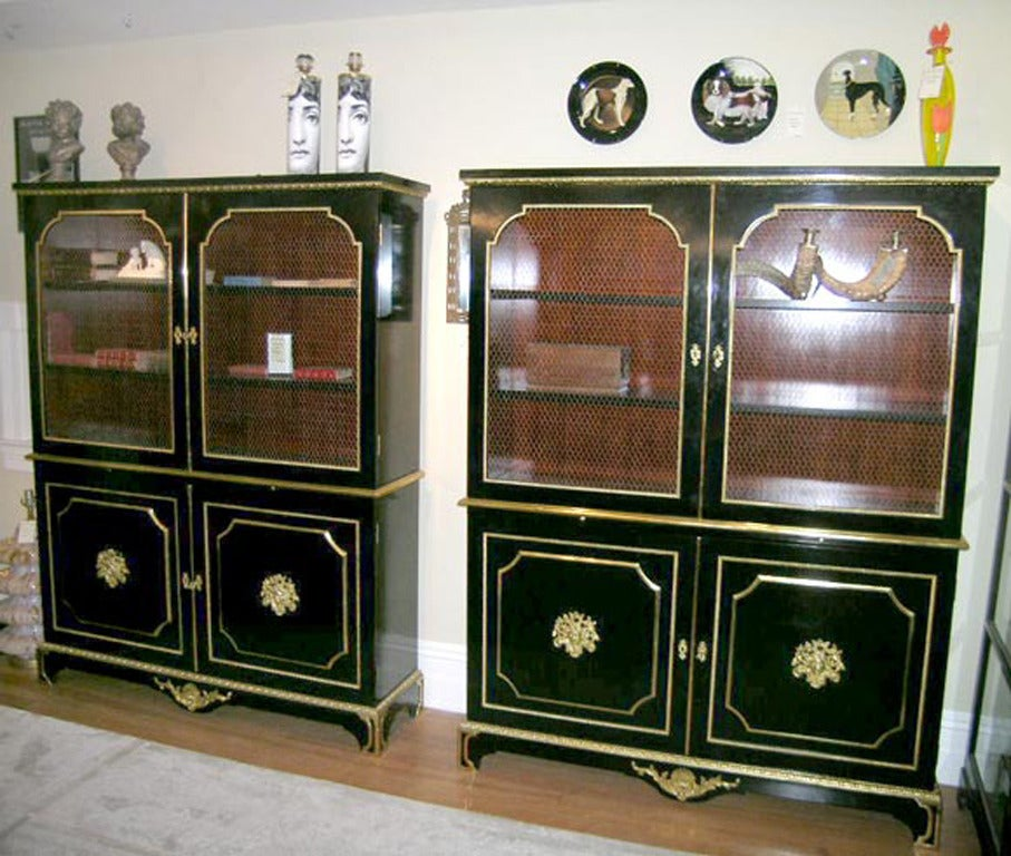 Bronze Exceptional Pair of Jansen Louis XVI Style Bookcases For Sale