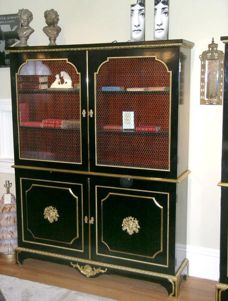Late 20th Century Exceptional Pair of Jansen Louis XVI Style Bookcases For Sale