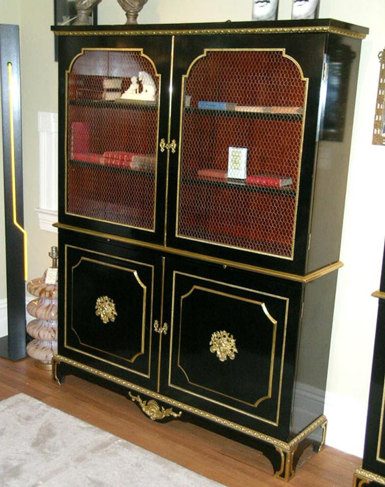 Exceptional Pair of Jansen Louis XVI Style Bookcases For Sale 1