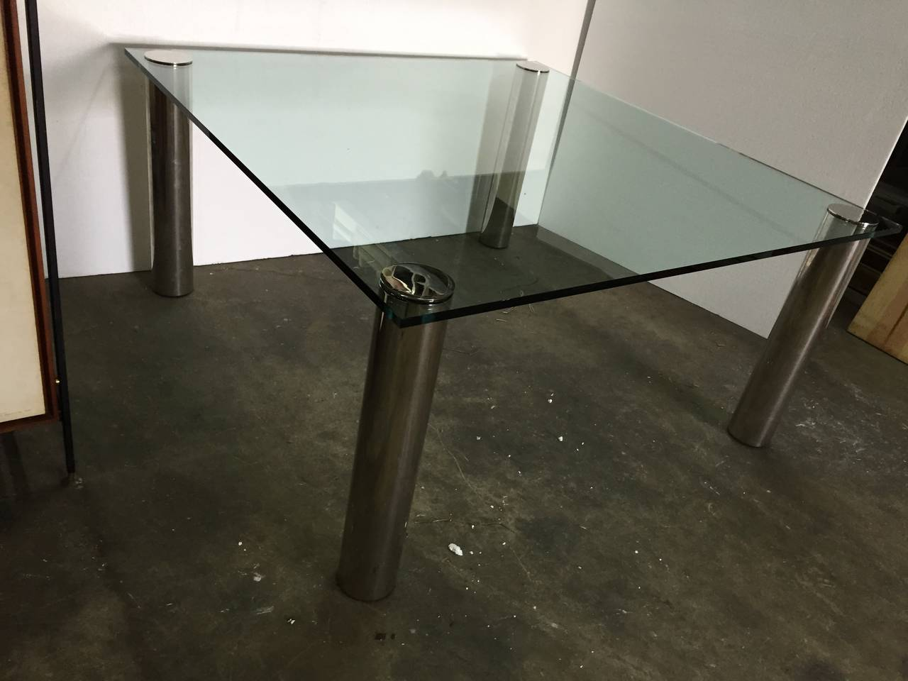 pace oversized square chrome and glass dining table for