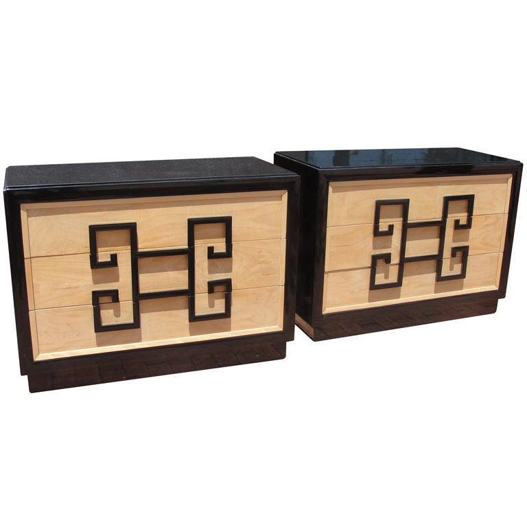 Pair of Kittinger Greek Key Commodes For Sale