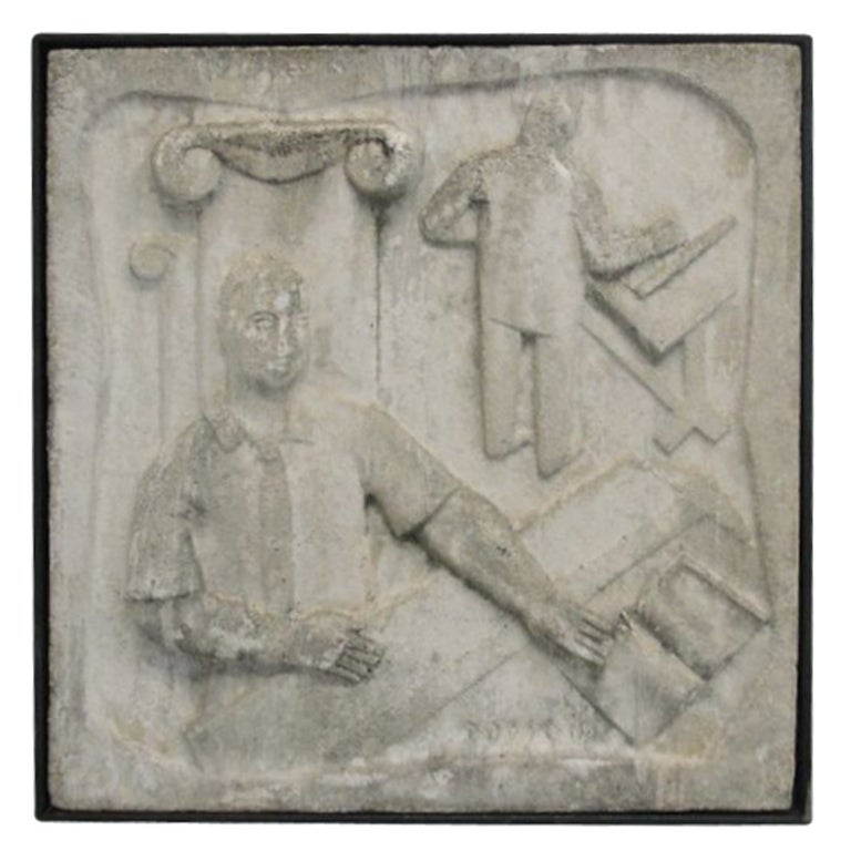 Wall Mounted Cast Concrete Art Deco Plaque At 1stdibs