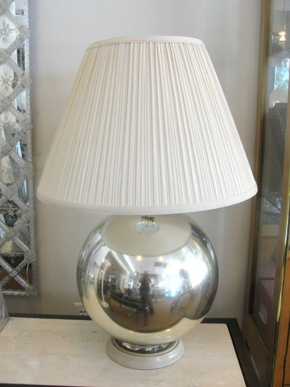 large mercury glass globe table lamp at 1stdibs. Black Bedroom Furniture Sets. Home Design Ideas