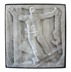 "Chuck Dodson Wall-Mounted Cast Concrete Art Deco Plaque Entitled, ""Industry"""