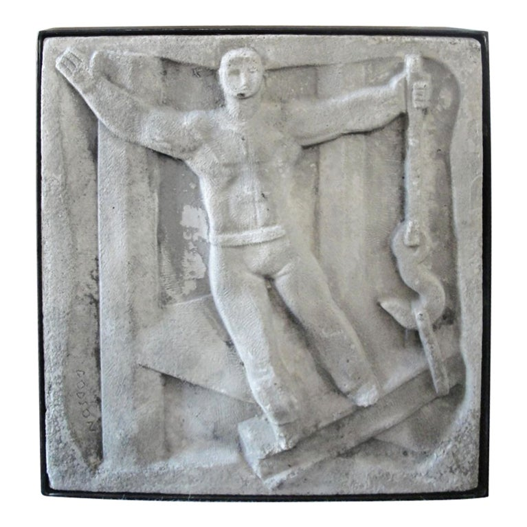 Concrete Wall Art : Wall mounted cast concrete art deco plaque entitled
