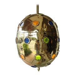 Brass Egg Orb Light Fixture