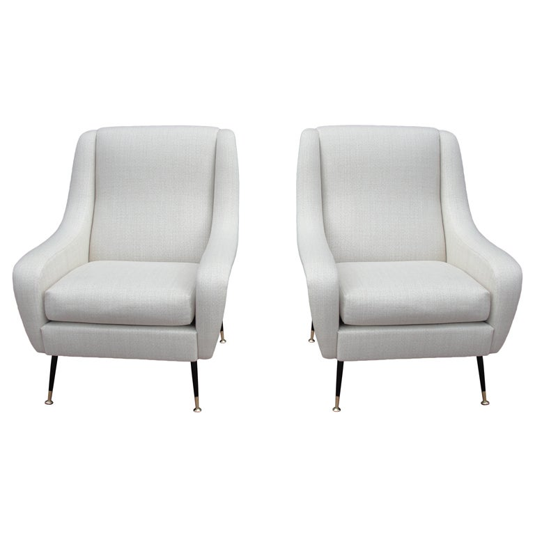 Phenomenal French 50 39 S Linen Armchairs At 1stdibs