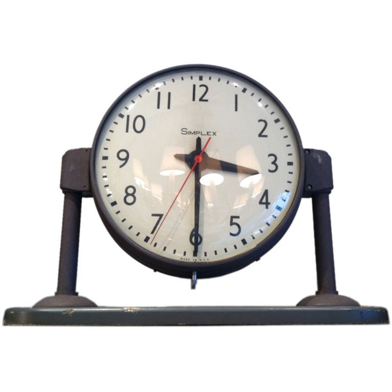 vintage french ato brillie station railway clock factory industrial double side cast aluminum clock face large metal clock face double face simplex