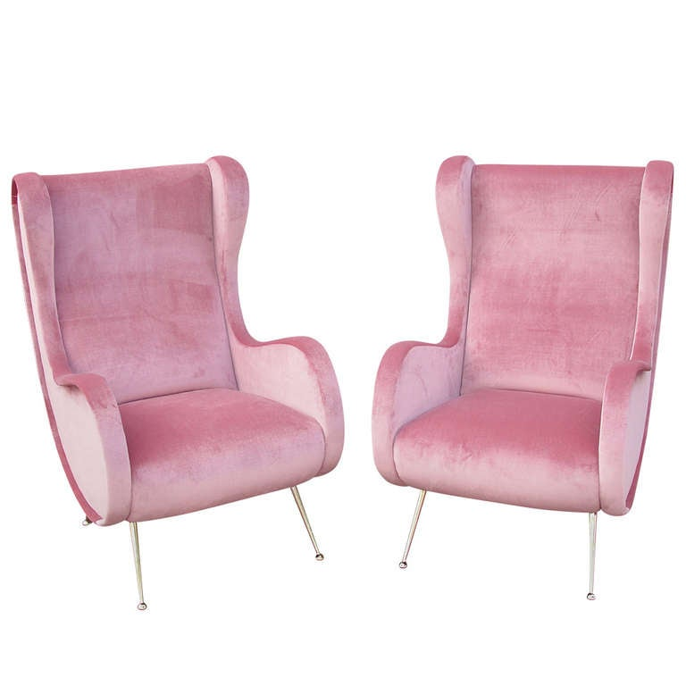 Vintage Pair Of Zanuso Style Luxurious Pink Velvet Chairs