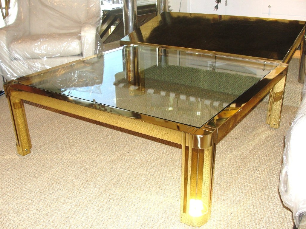 American Oversized Polished Brass Coffee Table For Sale
