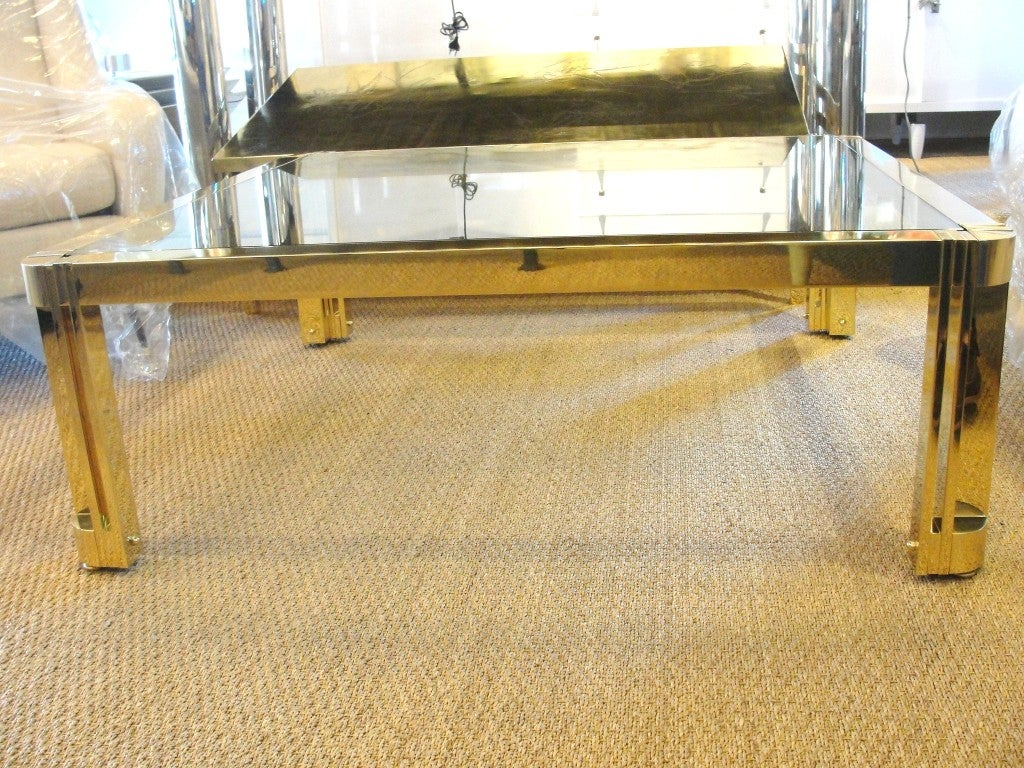 Oversized Polished Brass Coffee Table In Excellent Condition For Sale In East Hampton, NY