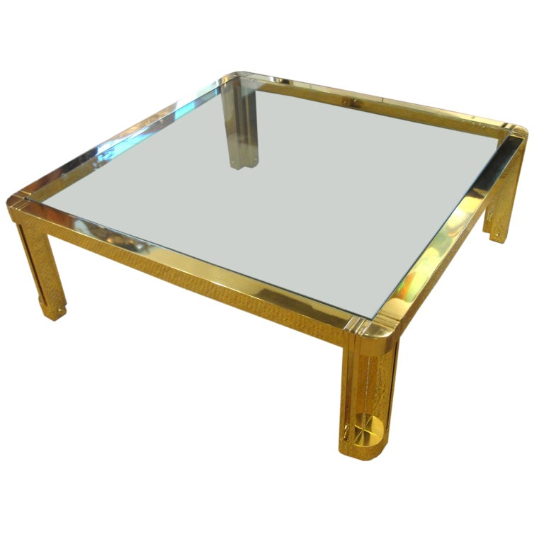 Oversized Polished Brass Coffee Table At 1stdibs