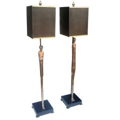 Etruscan Man & Woman Custom Bronze Table Lamps