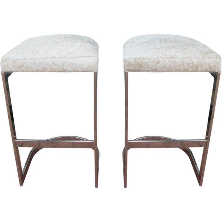 Pair Of Chrome And Pony Hide Bar Stools At 1stdibs