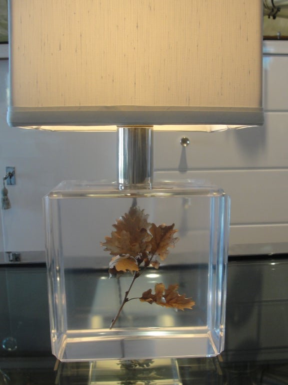 French A Pierre Giraudon Resin Lamp w/ Floating Maple Leaf For Sale