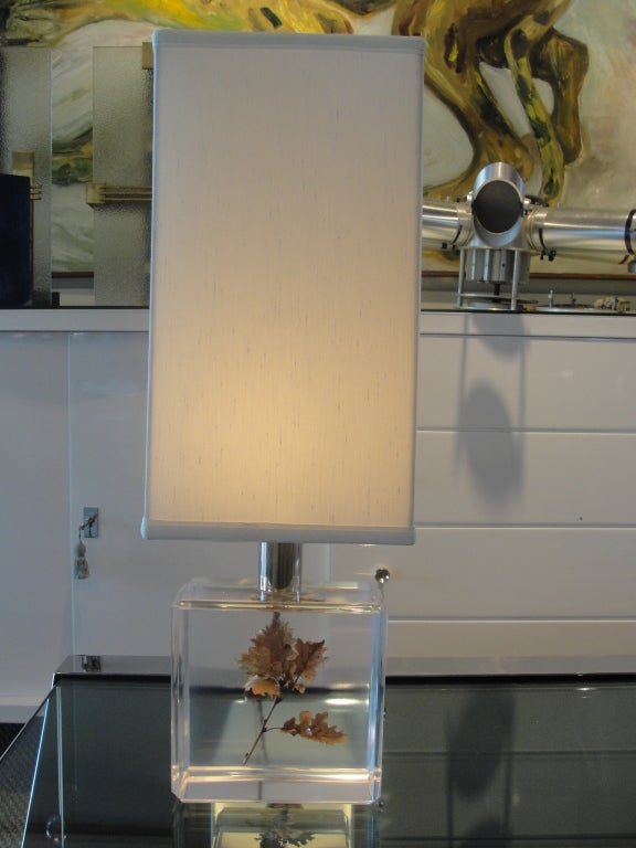 A Pierre Giraudon Resin Lamp w/ Floating Maple Leaf For Sale 1