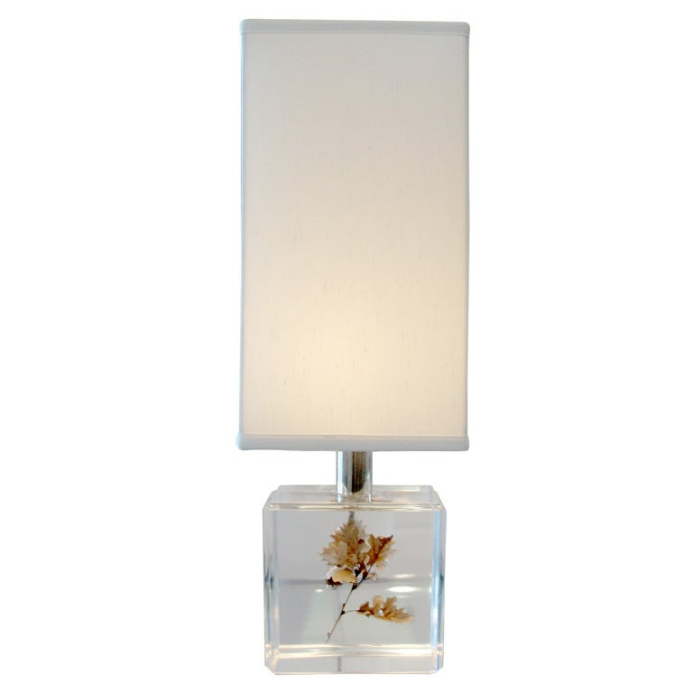 A Pierre Giraudon Resin Lamp w/ Floating Maple Leaf For Sale