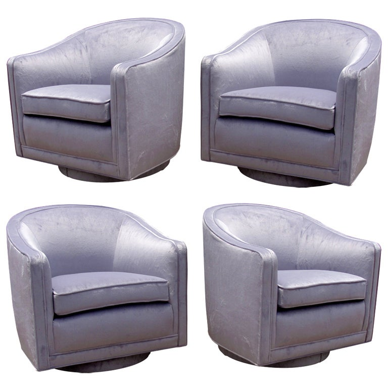 Pair Of Harvey Probber Swivel Lounge Chairs At 1stdibs