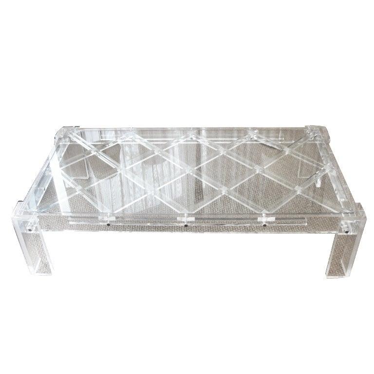 Lucite Lattice Design Cocktail Table At 1stdibs