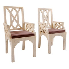 Pair of Chippendale  style Bone Covered Armchairs