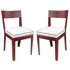 A Pair Of Mahogany Regency Side Chairs On Casters At 1stdibs