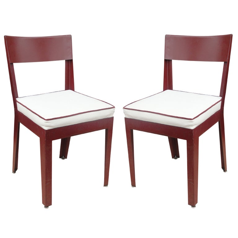 Pair of Jules Leleu and Ateliers Jean Prouve Metal Side Chairs 1