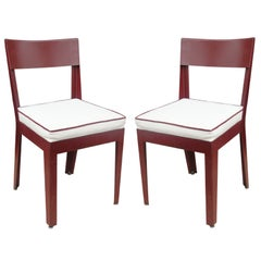 Pair of Jules Leleu and Ateliers Jean Prouve Metal Side Chairs