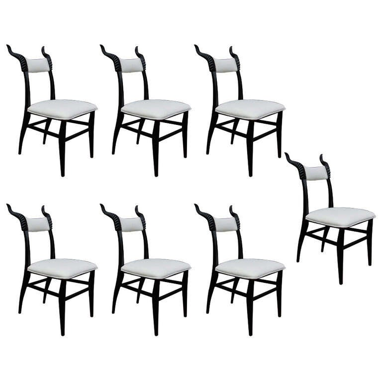 Set of Seven Decorative Wood Carved Horn Chairs For Sale  : 818896l from www.1stdibs.com size 768 x 768 jpeg 42kB